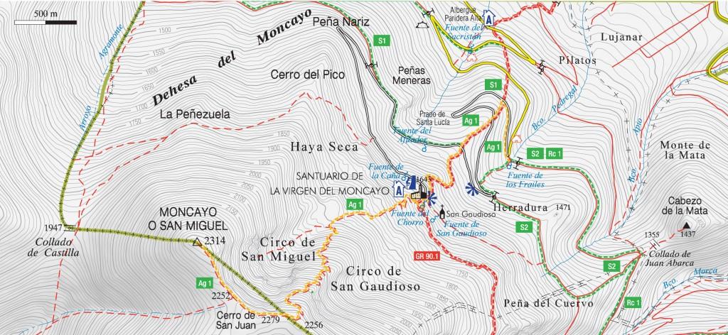 Mapa ruta invernal al Moncayo