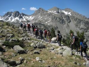 Grupo organizado en montaña